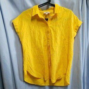 Loft Size M Top Yellow Marigold Button Up Blouse Cottage Core Short Sleeve